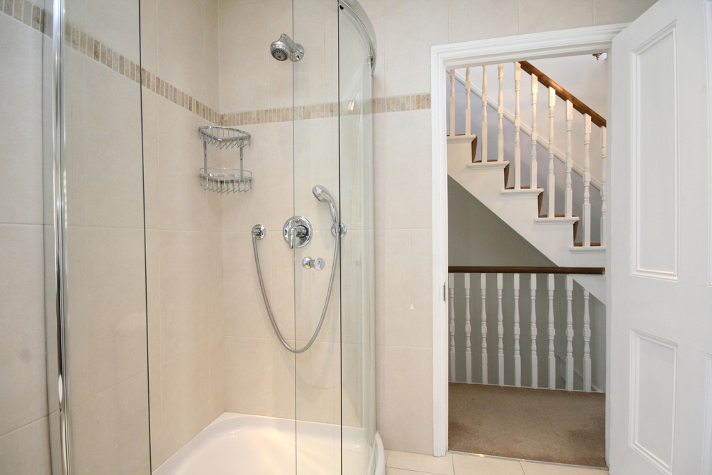 detail of shower with fixed and flexible shower